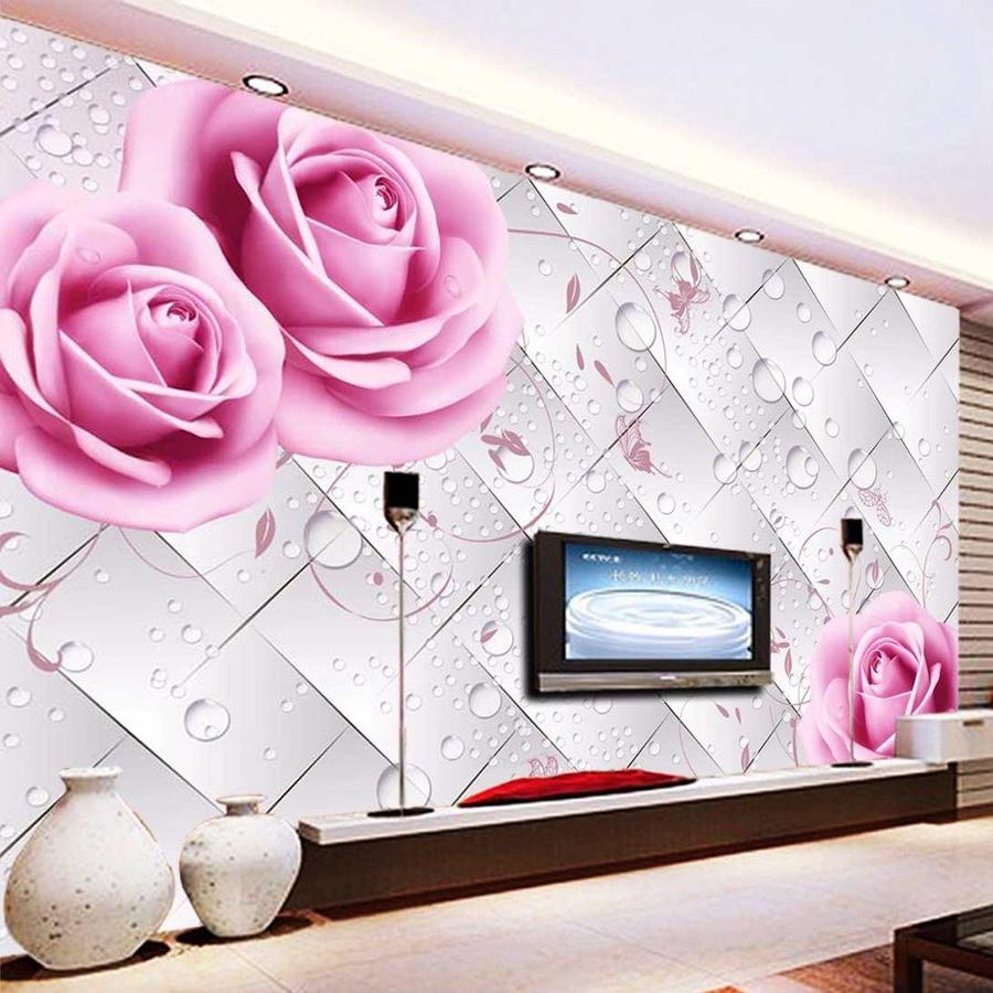 Custom Wallpaper Rose Water Droplet 3D Stereoscopic Non Woven TV Backdrop Mural Wall Covering Wallpaper Living Room Modern Girl Wallpaper Girl