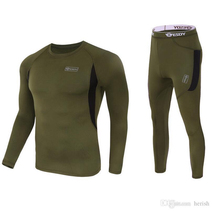 T-shirt d'hiver de qualité supérieure pour hommes de qualité supérieure sous-vêtements thermiques Ensembles de compression en molleton de sueur à séchage rapide Thermo Homme Vêtements