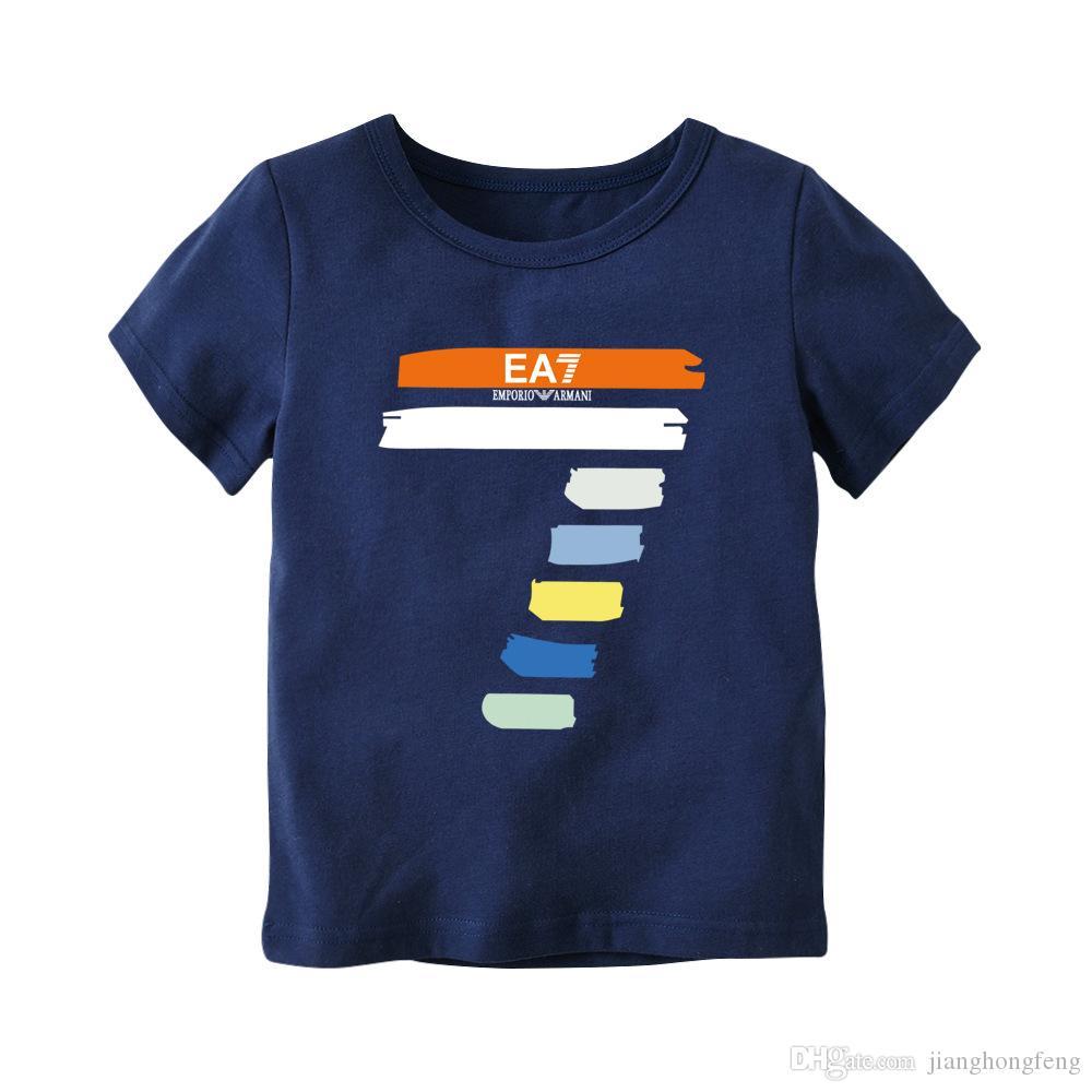 2019 Mode Garçons Filles T-shirts d'enfants d'enfants en coton imprimé numérique T-shirts Vêtements pour enfants Hauts bébé