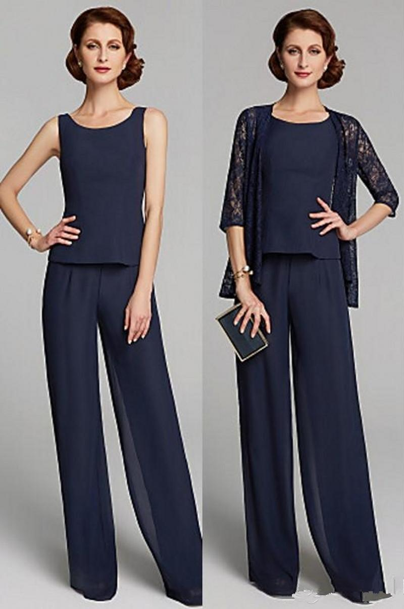 Custom Made Summer Two Piece Mother Of The Bride Dresses Plus Size Jewel Neck Floor Length Chiffon Lace Pants Suits Party Evening Gowns Z88