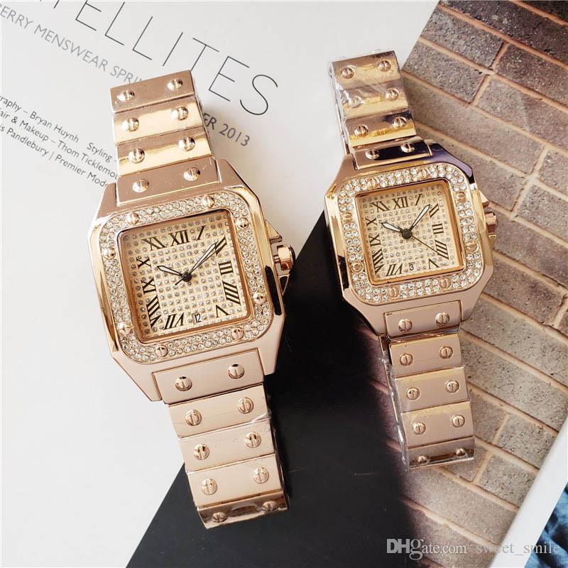 2019 Marka lüks tasarımcı izlemek kadın moda elmas saatler bayan en kaliteli altın etiketi kol saatleri mens