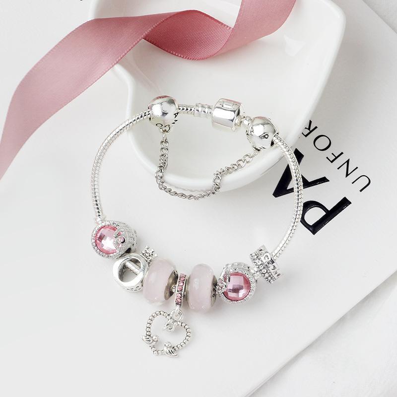 Toptan çekicilik Pandora tarzı Ç mektup taç boncuk bilezik takı için uygun alaşımlı gümüş kaplama bilezik boncuk