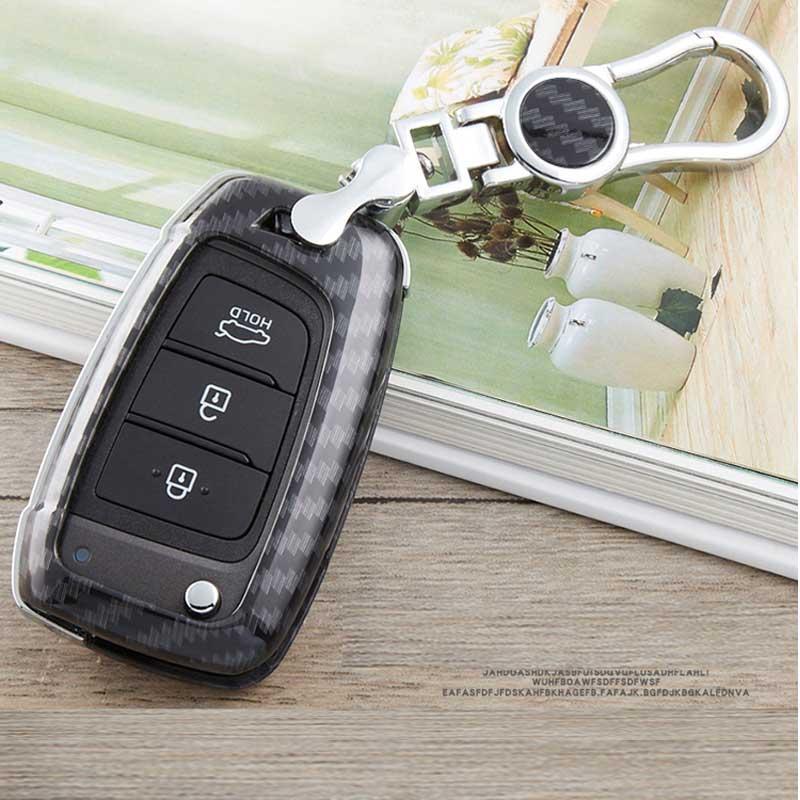 voiture cas de clé pour i30 Tucson Creta hyundai ix25 i10 i20 Verna Mistra Elantra 2015-2018 étui de protection de la coquille porte-clé couvercle carbone