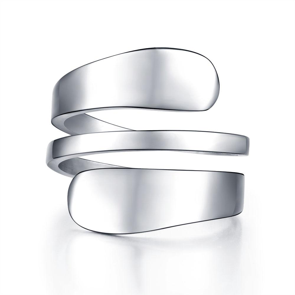 de acero inoxidable de la manera de las mujeres anillo de plata del color para la joyería anillos de las mujeres anillo de prensado 3 Fila anillos de mujer fatal bague Mujer