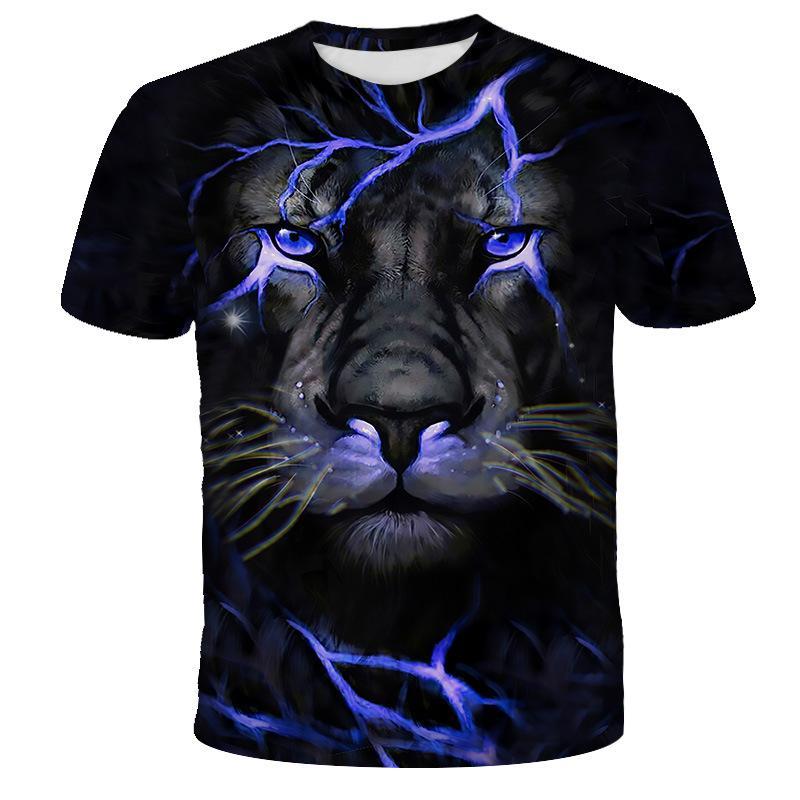 Sommer-Art-T-Shirts Männer-Druck 3D Lion Short Sleeve Hip Hop Street Plus Size T Shirts