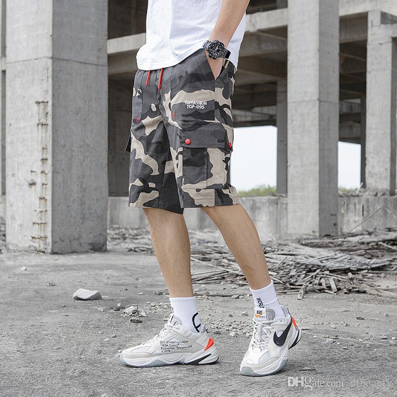 Tendência da moda camuflagem dos homens macacões maré calça marca cinco calças dos homens soltos tendência casual calças retas M-3XL