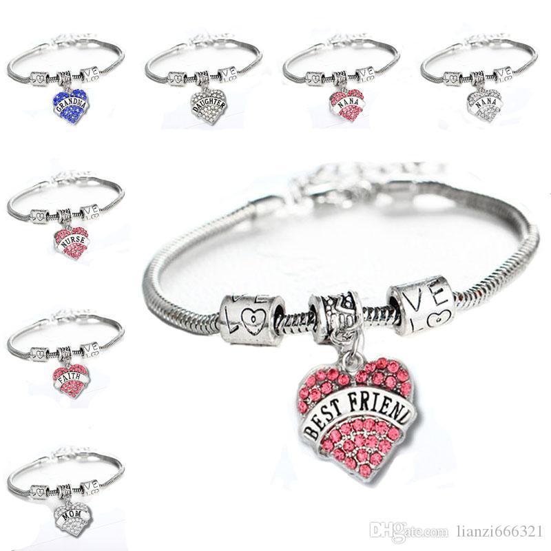 45 Types Diamond Love Heart Bracelet Maman tante Fille Grand-mère Croire Hope Meilleur Bracelet en cristal de Crystal et Sandy Drop Ship HJ247