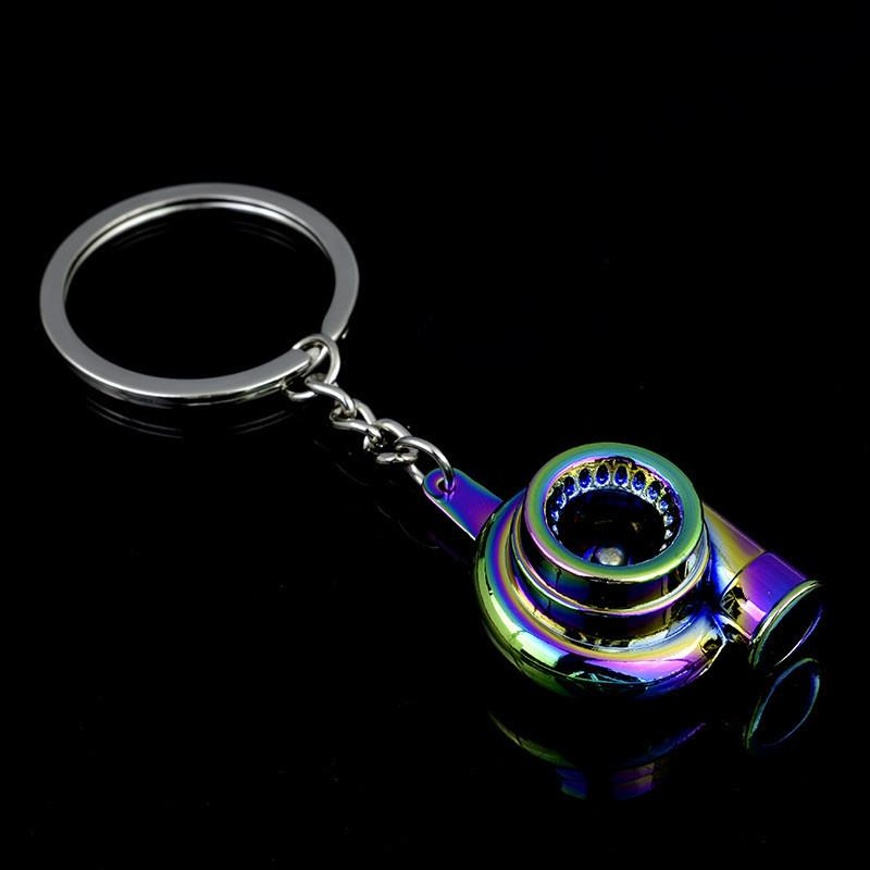 New Universal Car House Cool Gunmetal Spinning Turbo Keychain Turbocharger keyring Creative Design Auto Stylish Accessories