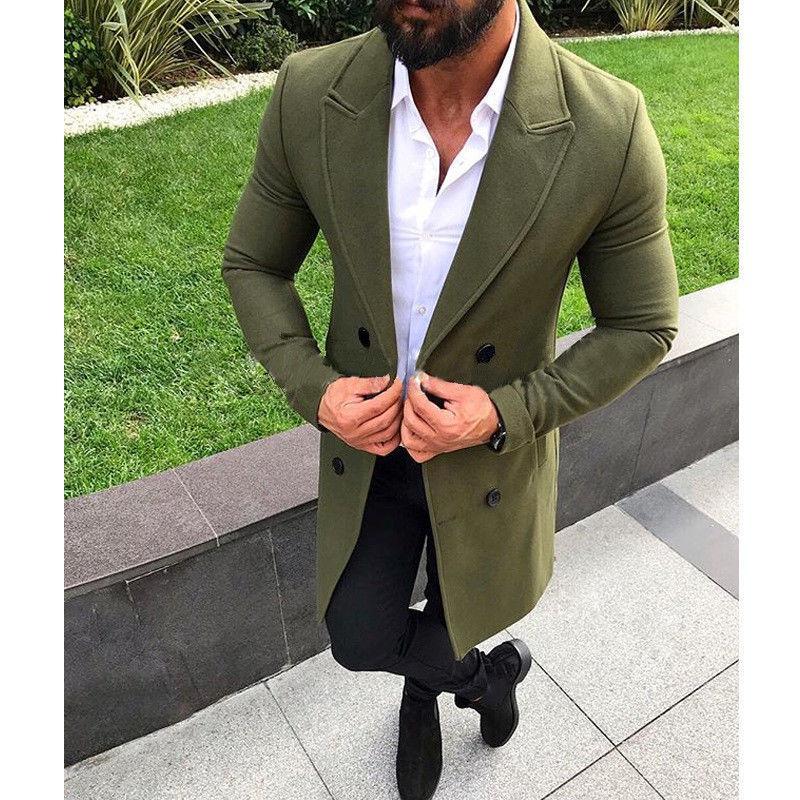 Nuevos hombres de invierno caliente de la capa Outwear mezclas de solapa abrigo larga chaqueta para hombre Chaquetón capas largas