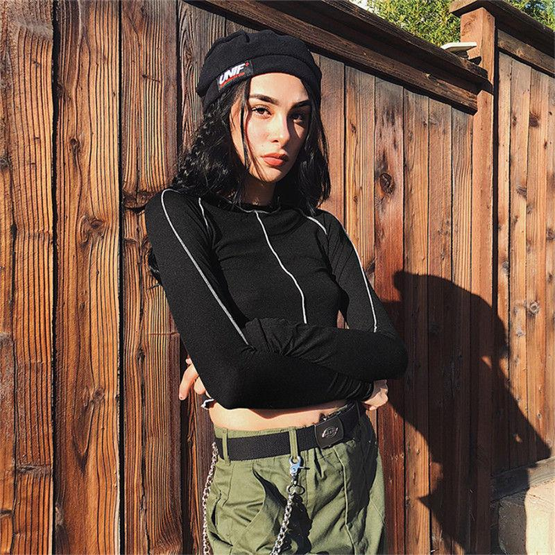 Otoño nuevo de las mujeres de cuello de tortuga T-Shirts cultivos tapas ocasionales de la manga larga llanura estiramiento atractivo de la camiseta de la moda Streetwear
