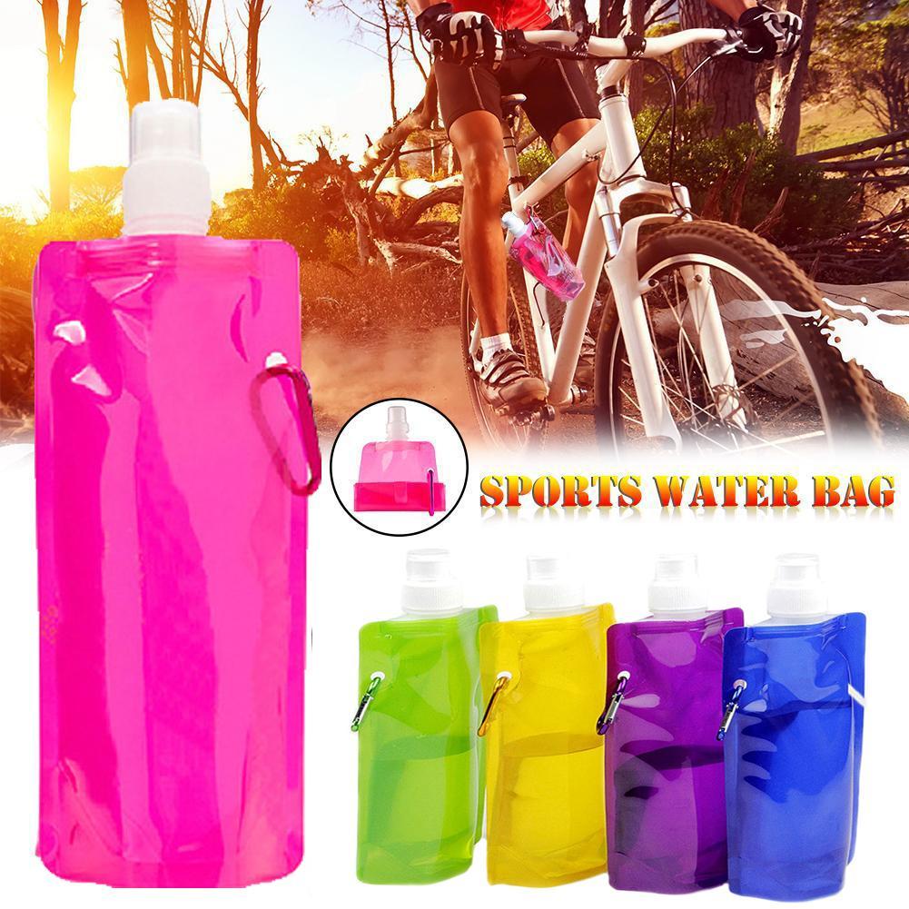 Taşınabilir Ultralight Katlanabilir Su Çanta Yumuşak Matara Şişe Açık Spor Yürüyüş Kamp Su Çanta 480ml-500ml VT0038