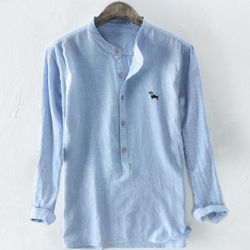 Men's Shirt 2020 Baggy Stripe Embroidery Long Sleeve Button Stand Collar Plus Size Shirt Man Summer Male Top Camisas Hombre #623