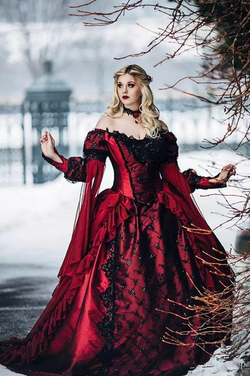 G2019 New oth Bela Adormecida Princesa Medieval Vermelho e Preto vestido de Baile Vestido De Noiva Manga Longa Rendas Apliques de Vestidos De Noiva Do Vintage