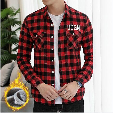 shirt de l'automne T-shirt et l'hiver chemise à manches longues hommes épais de hommes de design de luxe veste Polo chemise casual couture ouverte M-3XL mode