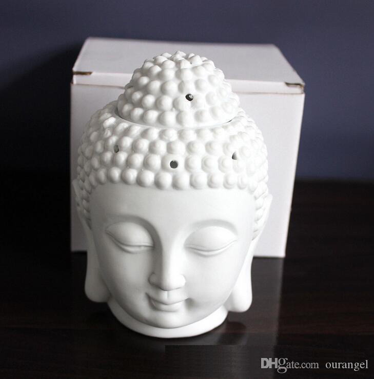 السيراميك الروائح النفط الموقد بوذا رئيس رائحة البخور من الضروري النفط بوذا التبتية مبخرة الناشر الهندي