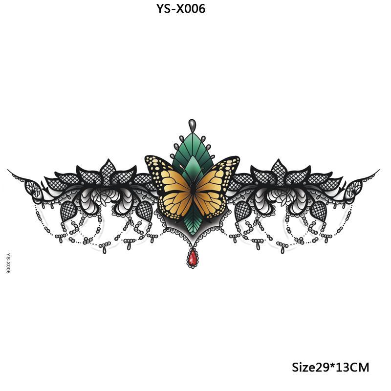 Nouvelle arrivée étanche sous le tatouage du sein, femmes sexy tatouage sexy dentelle noire papillon temporaire tatouages Body Art