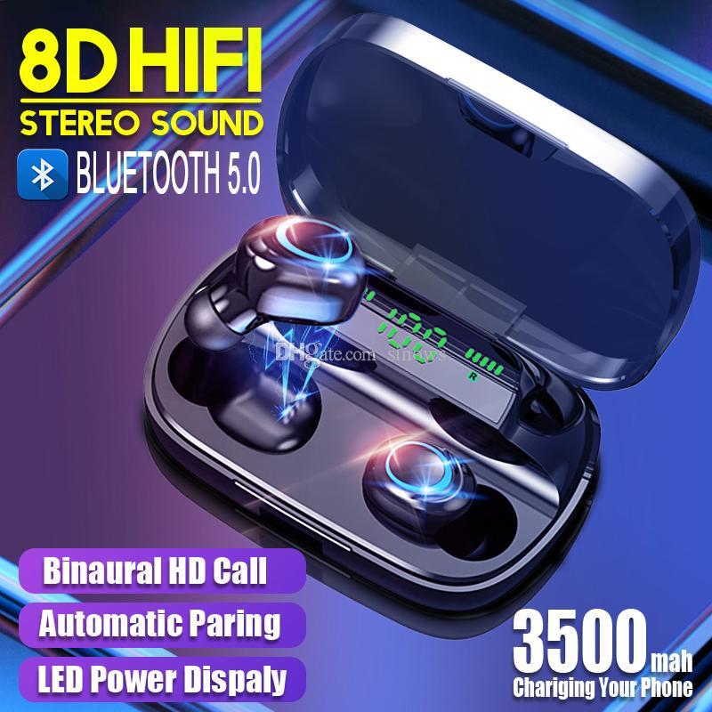 S11 TWS 3500mAh 전원 은행 헤드폰 LED 블루투스 5.0 이어폰 헤드폰 무선 고음질 스테레오 이어폰 게임 헤드셋과 마이크