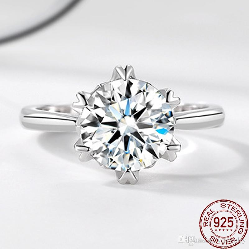 Classic Engagement Ring 2ct 8mm Round Crystal CZ Diamond Rings For Women Female Wedding Jewelry Finger Ring XR418