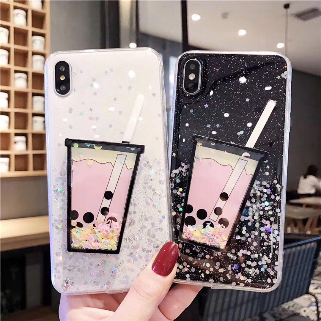 Роскошный 3D напиток Кубок зыбучие пески чехол для телефона блеск дрейф песок мягкая задняя крышка для iPhone 11 Pro Max XS MAX XR 6 6S 7 8 PLUS