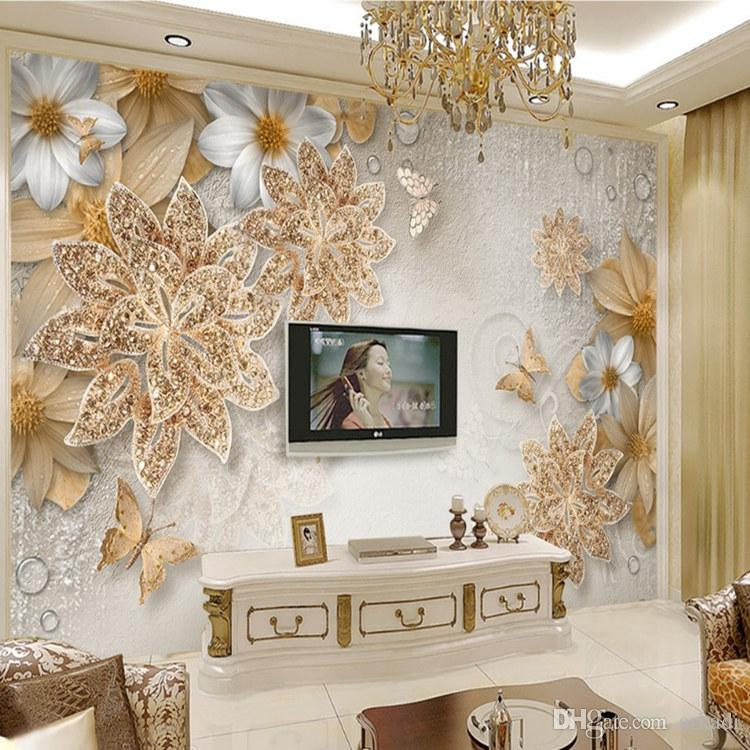 Custom Mural Wallpaper For Bedroom Walls 3D Luxury Gold Jewelry Flower  Butterfly Background Wall Papers Home Decor Living Room Arkadi A Wallpaper  Hd A ...