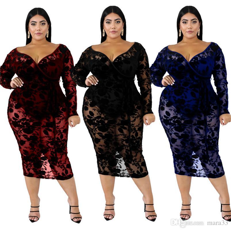 Mulheres deep-v pescoço midi veste XL-6XL plus size sexy club elegante do laço queda verão partido coluna roupas bainha vestido de noite elegante 2547