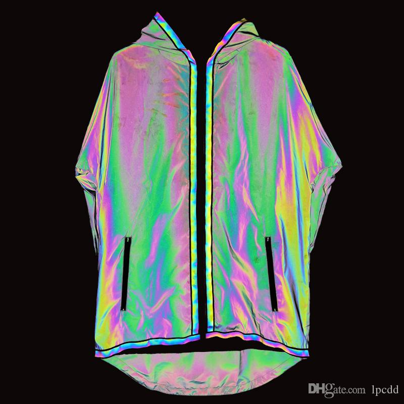 2019 trenchcoat männer bunte dünne lange jacke männer reflektierende jacken kapuzenmantel nachtclub punk windjacke jaqueta masculino herren mantel