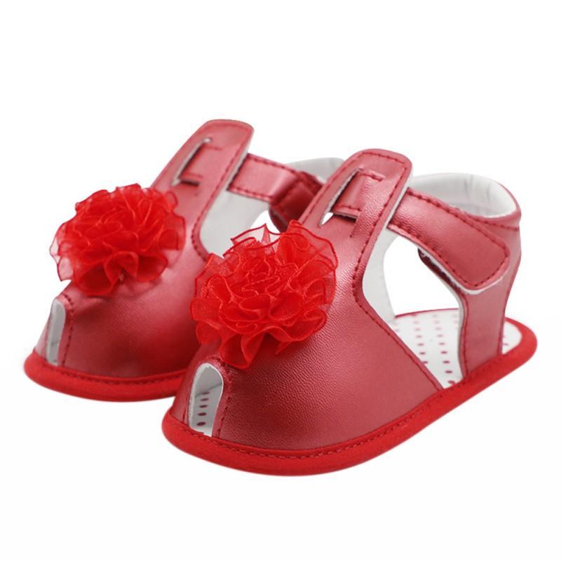 Verano del bebé niño antideslizante zapatos de cuero de la PU de la flor zapatos de la princesa del color suela blanda sólidas
