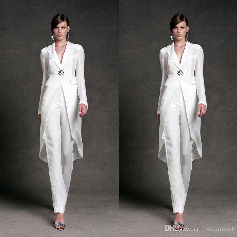2020 Elegant Mother Of Bridal Dresses With Jacket For Wedding V Neck Mother's Formal Suit Long Sleeve Beads Formal Prom Evening Dress