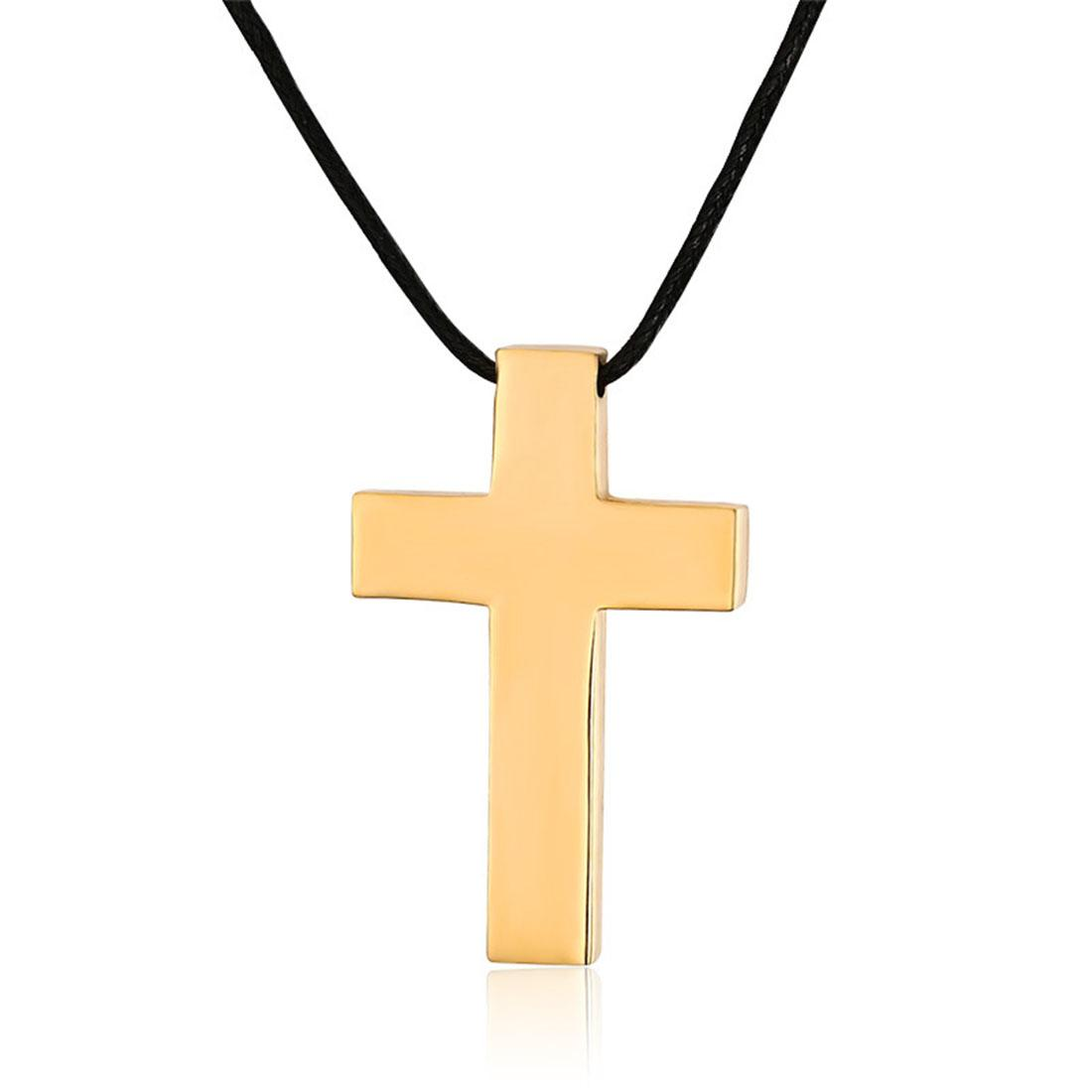High Polished Womens Plain Stainless Steel Cross Pendant Necklace 18K Gold Plated