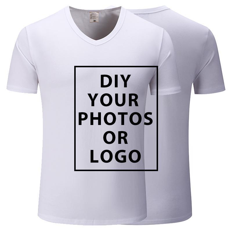 Создание пользовательских футболка печати вашей любимого Фотодизайн Мужского Женского Unisex Повседневной тенниска Женщина Топы Тис Плюс Размер S-3XL