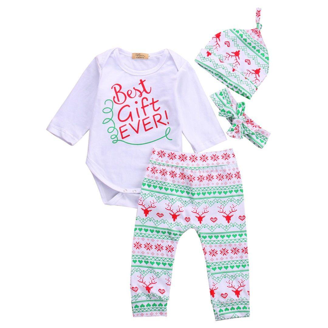 4PCS Bebé Menina do Natal Outfits presente Romper cervos Calças Legging Clothes Set roupas de bebê recém-nascidos roupa do bebê set 2016 novo