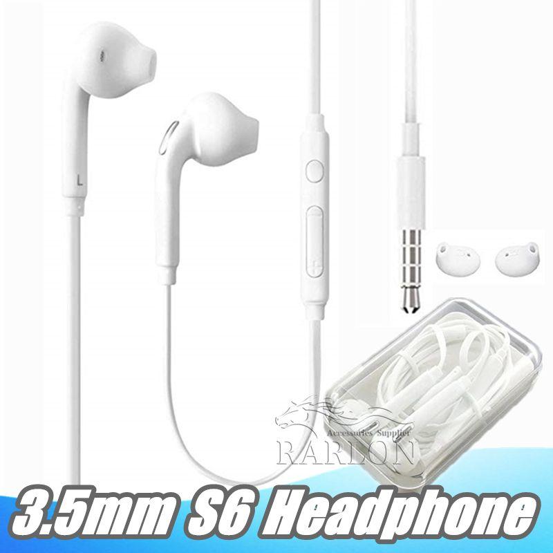 S6 S7 auricolare cuffie auricolari Auricolare per Jack In Ear cablati con volume del Mic di controllo 3,5 millimetri Bianco Nero Con imballaggio al minuto