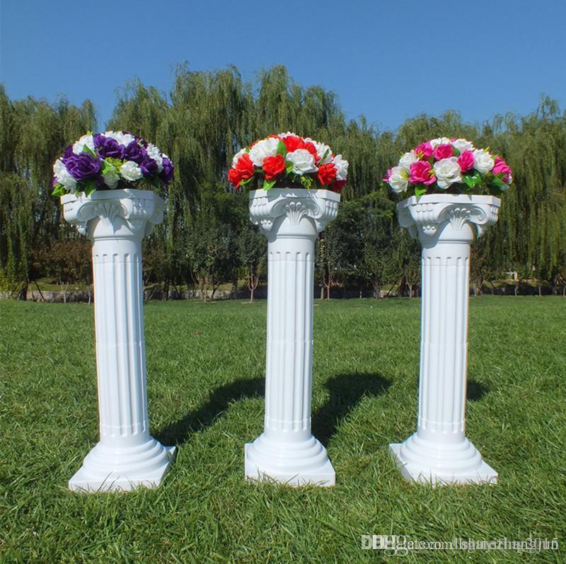 İçi Boş Çiçek Tasarım Roman Sütunlar Beyaz Renk Plastik Pillars Yol Düğün Dikmeler Olay Dekorasyon 10 adet / sürü Malzemeleri Atıf