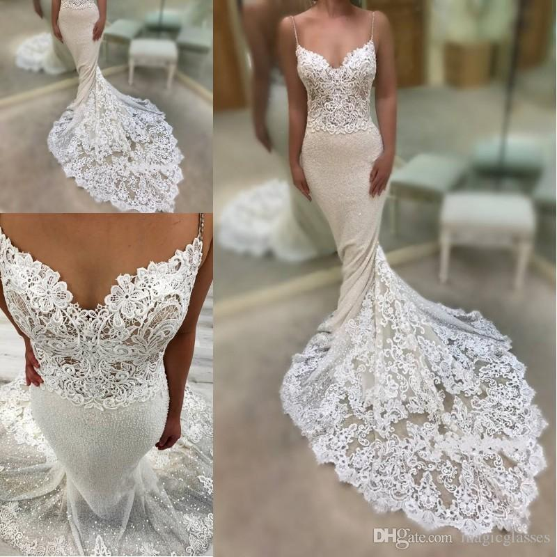 2019 sexy encantador correa de espagueti vestidos de novia largo sirena apliques de encaje lentejuelas vestidos de novia por encargo