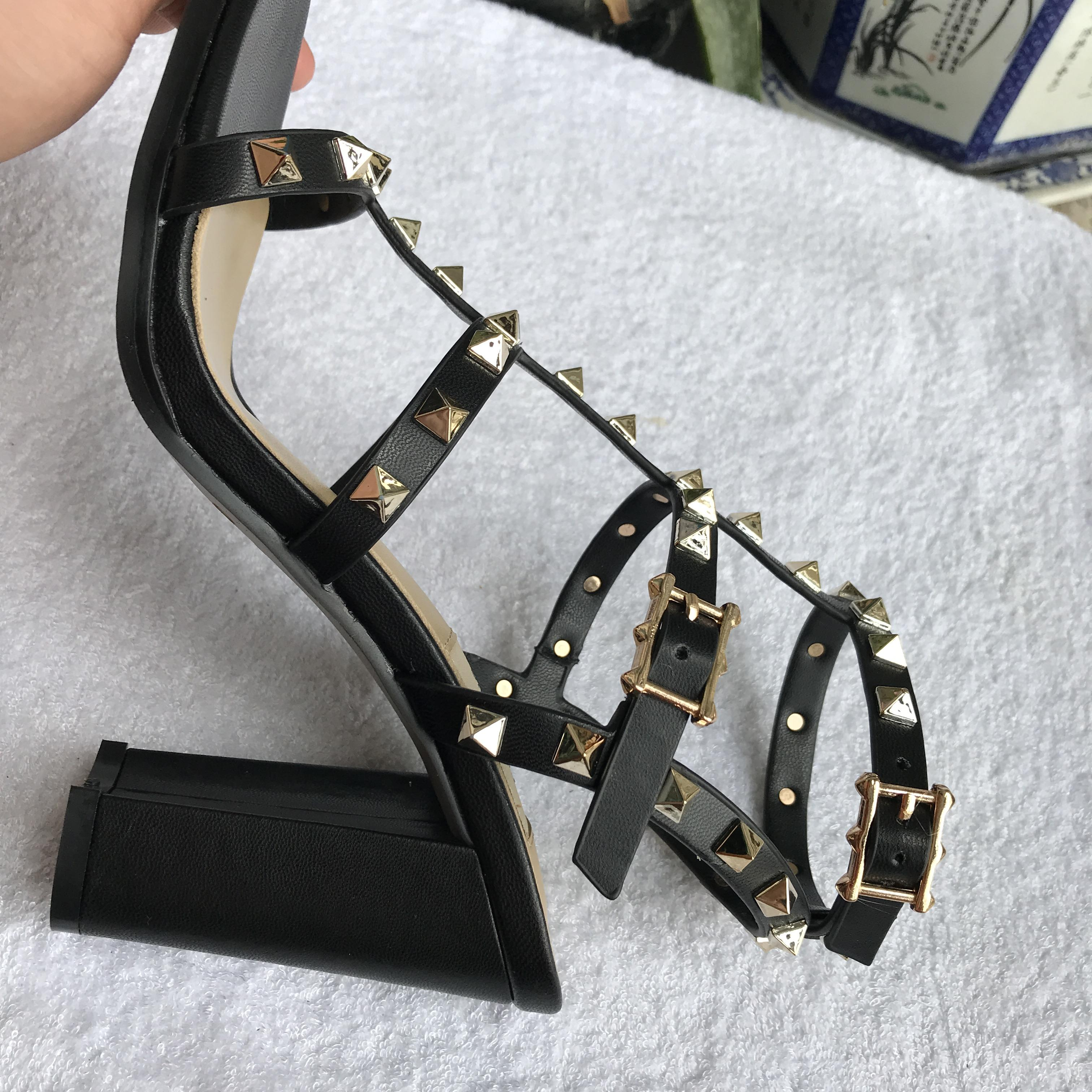 Hot Sale-new European women's rivets sandals with 9.5 cm high rivets fashion sandals 6 color sizes 35-41 with full packing