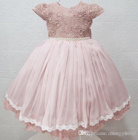 Lace Pearls Pink Flowers Flower Girl Dresses Off Shoulder Little Girl Wedding Dresses Vintage Pageant Dresses Gowns