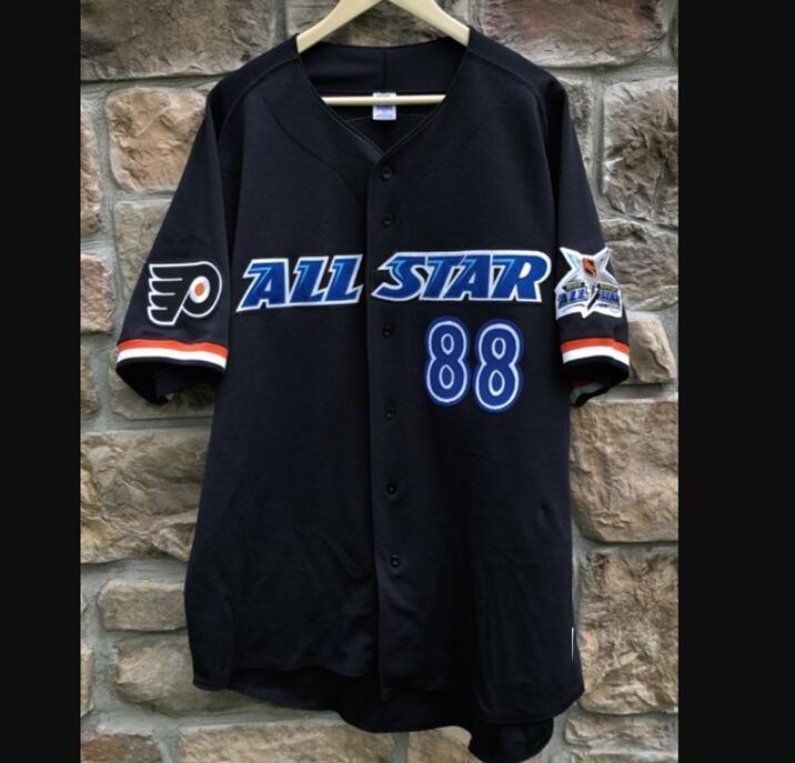 1999 Eric Lindros Philadelphia tüm yıldız hokey takımı şehir Beyzbol tarzı Düğme Yukarı Jersey gömlek Özel herhangi bir ad ve Numarası kadın çocuk erkek