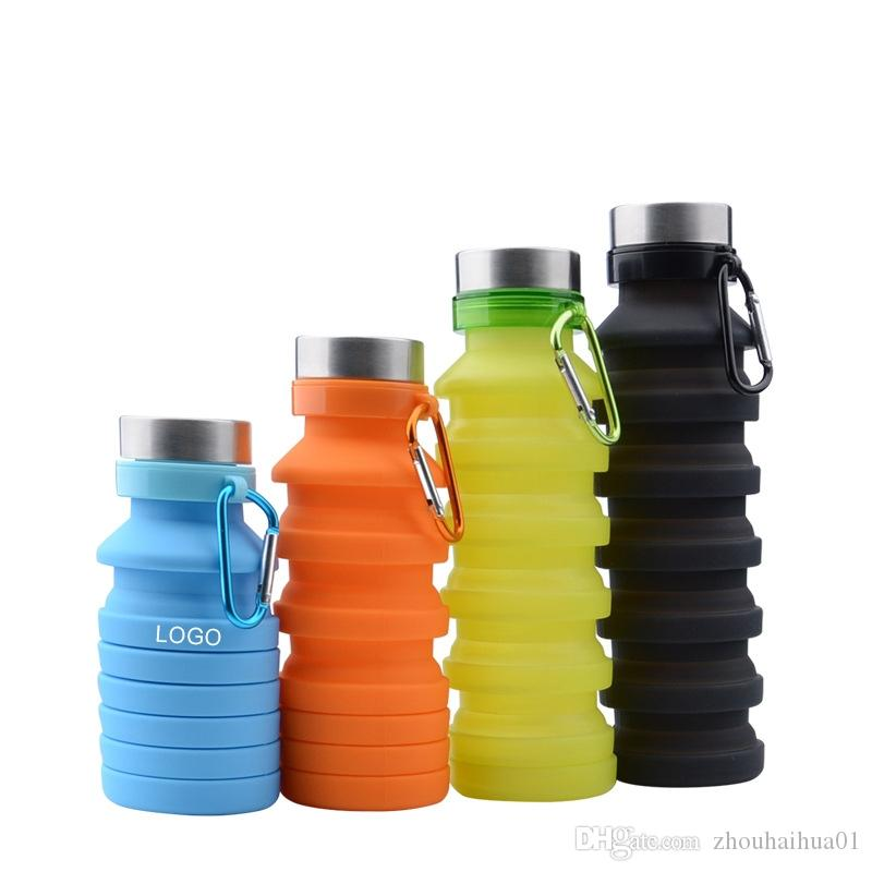 DE 500Ml Silicone Collapsible Water Bottle Sports Bottle Outdoor Travel Cup