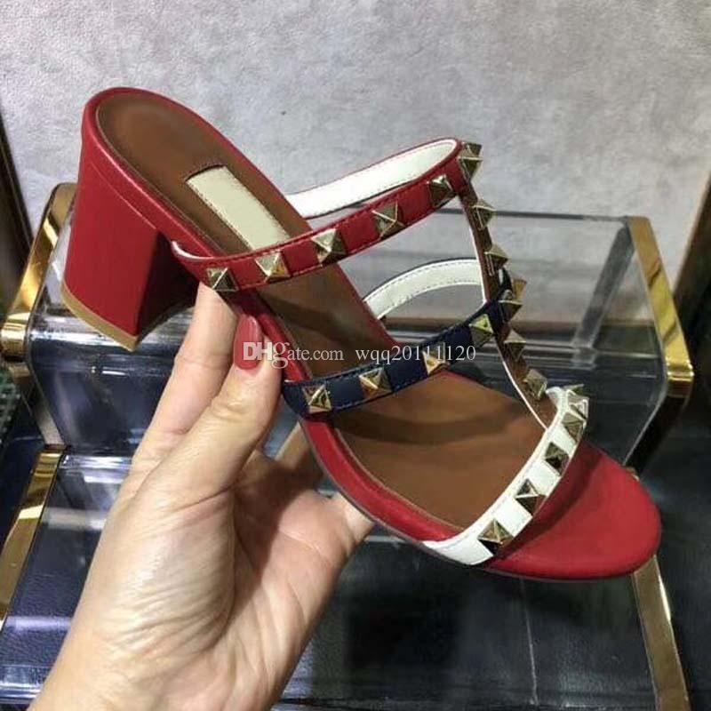 Diseñador verano sz mujeres cadenas chapas zapatillas de moda moda zapatos genuinos diapositivas de metal sandalias de lujo flip cuero casual marca 36-42 axfhe