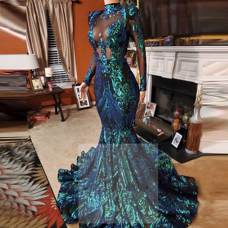 Uzun Kollu Yüksek Boyun Balo Kıyafeti Zümrüt Yeşil Dantel Mermaid Abiye 2020 Örgün Korular 2021 Boncuklu Vestido Sirena Largo