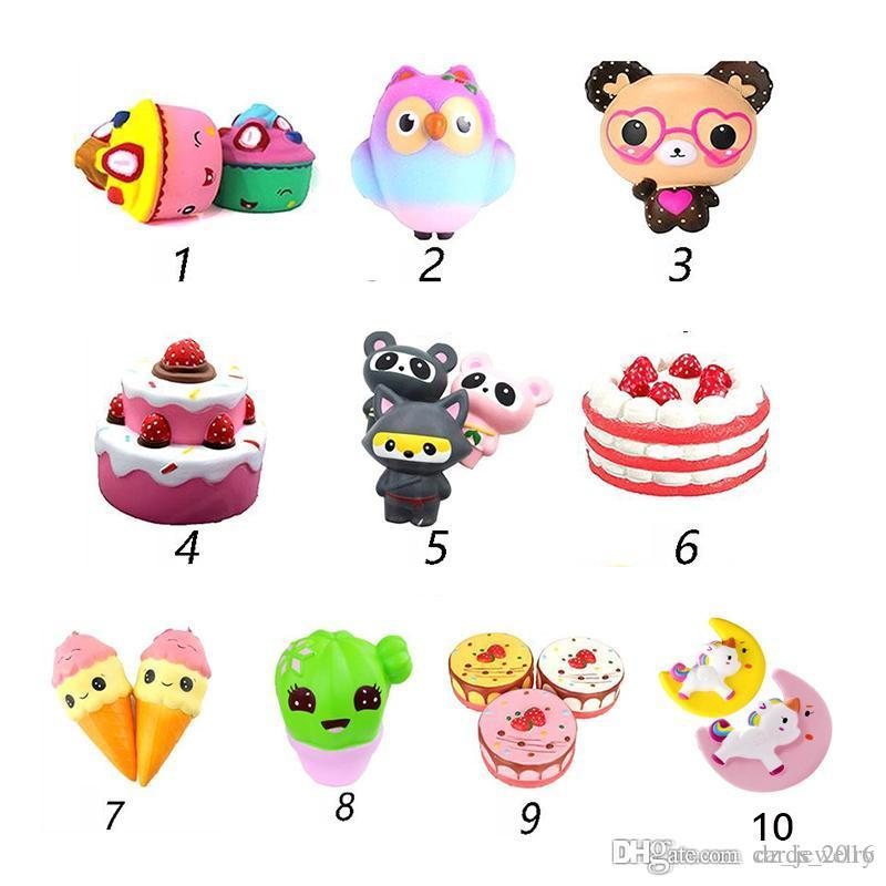 10 colors Squishy Toys squishies Rabbit tiger owl panda pineapple bear cake mermaid Slow Rising Squeeze Cute Cell Phone Strap gift for kid