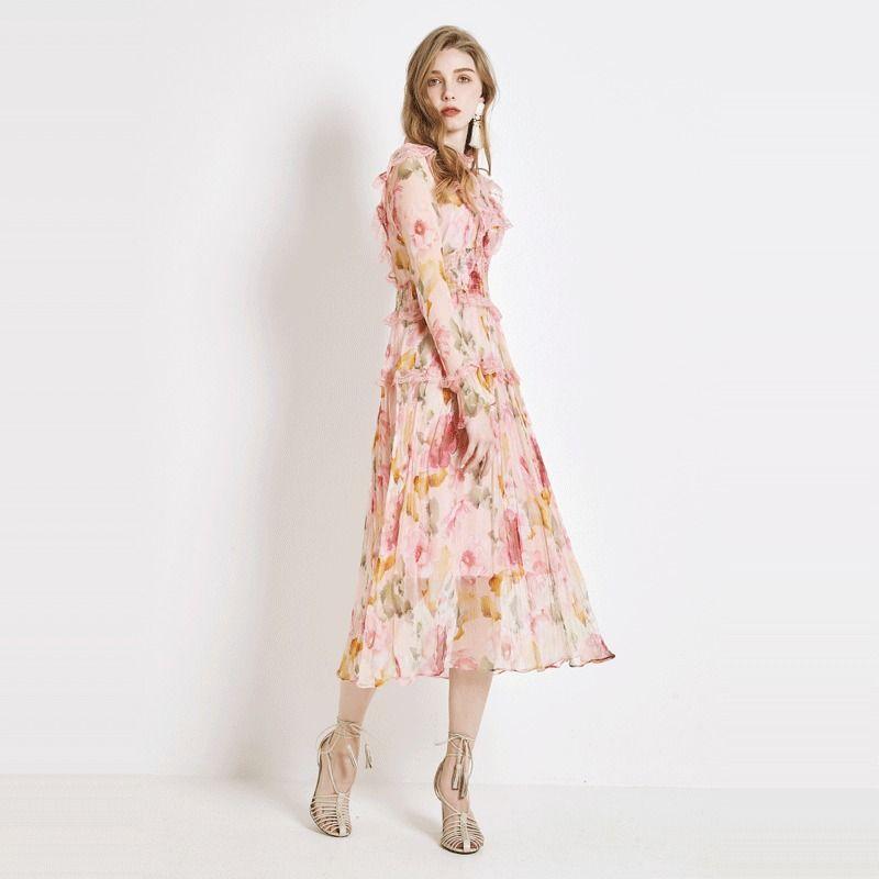 [Rongtai] été de fleurs femmes robe de soie 2020 nouvelle robe avec la taille mince et soie style français
