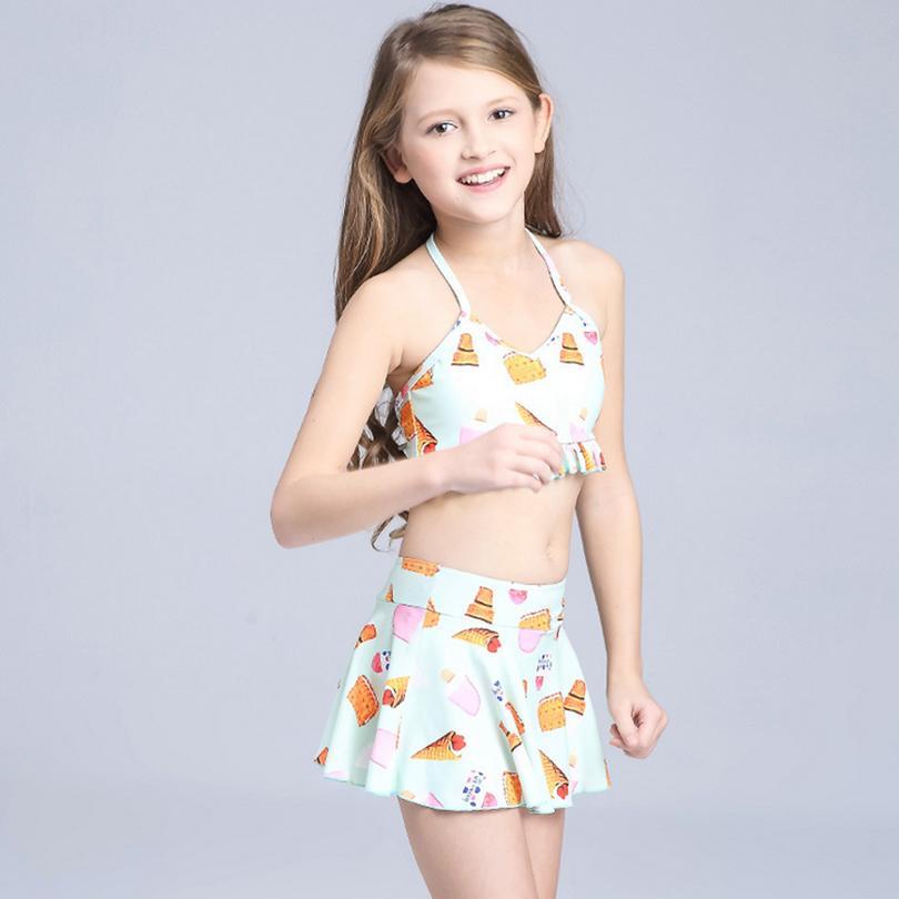 Acquista Costumi Da Bagno Bambini Costumi Da Bagno Bambina Tre Pezzi Costumi Da Bagno Bambini Biquini Infantil Simpatico Costume Da Bagno Ragazza Bikini 6 15 Anni Abito Da Spiaggia A 10 26