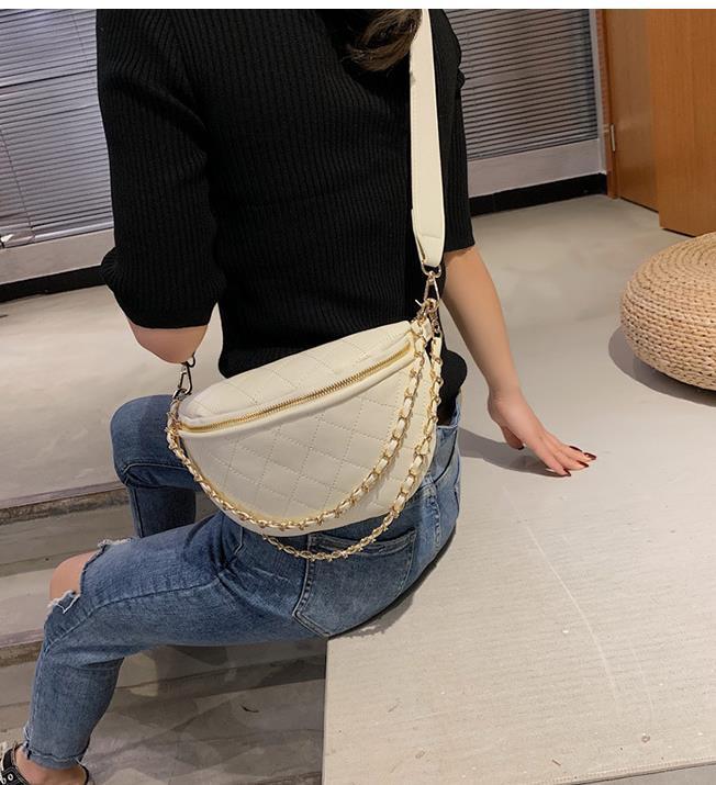 Pequeno saco Feminino 2020 Onda quente All-jogo Mensageiro Cadeia Rhombus Moda Multifuncional saco da cintura Peito Bag