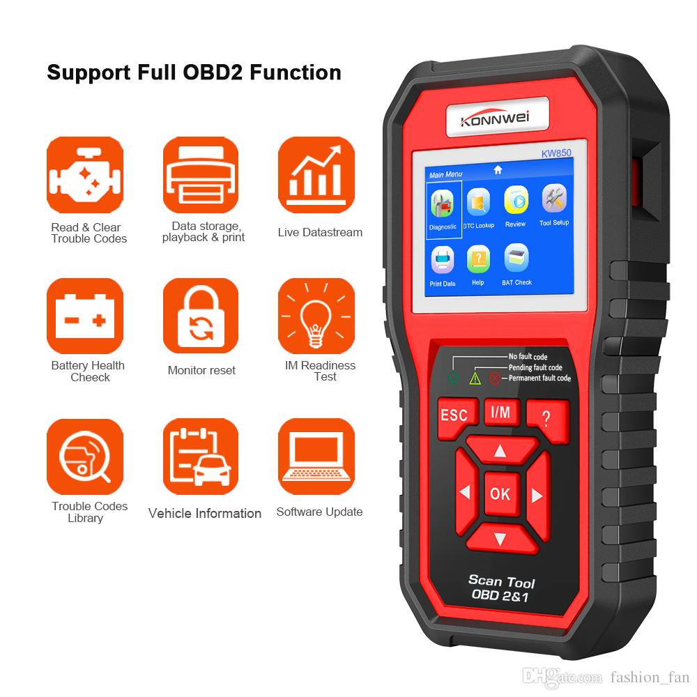 ODB2 Scanner Auto Diagnostic Scanner KONNWEI KW850 Full Function Car Diagnosis Car Scanner Universal OBD Engine Code Reader