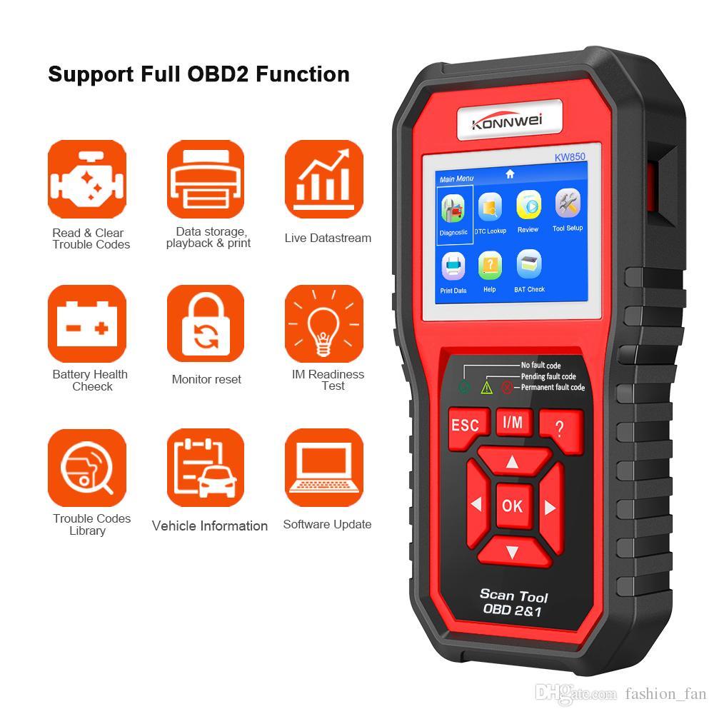 Lecteur de code de diagnostic automatique KONNWEI KW850 de scanner de voiture de fonction complète de scanner de voiture de lecteur de code de moteur universel d'OBD