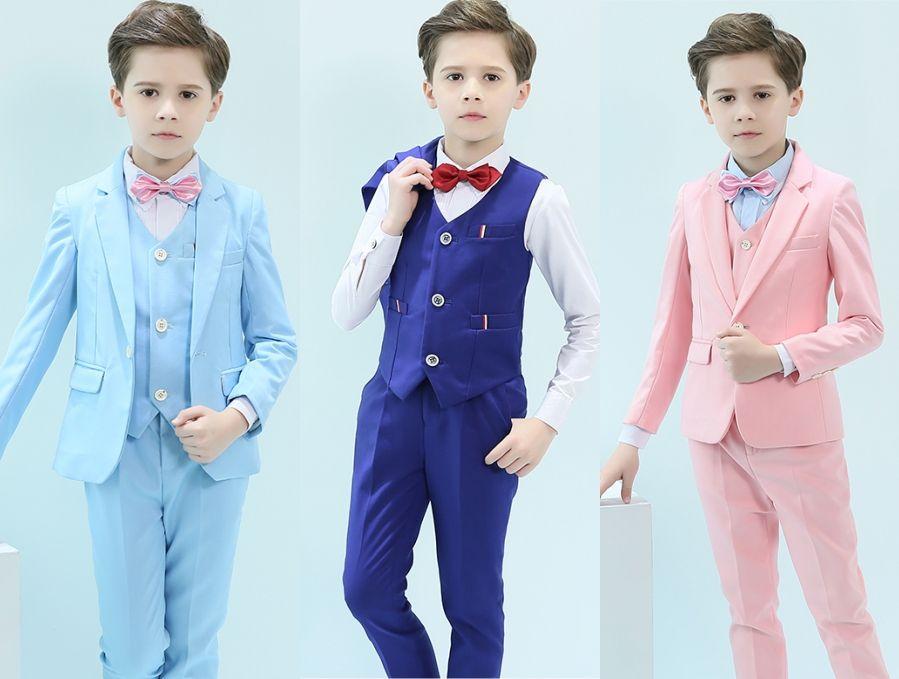 Custom-made Handsome One Button Notch Lapel Kid Complete Designer Handsome Royal Blue Boy Wedding Suit Boys' Attire (Jacket+Pants+Tie+Vest)