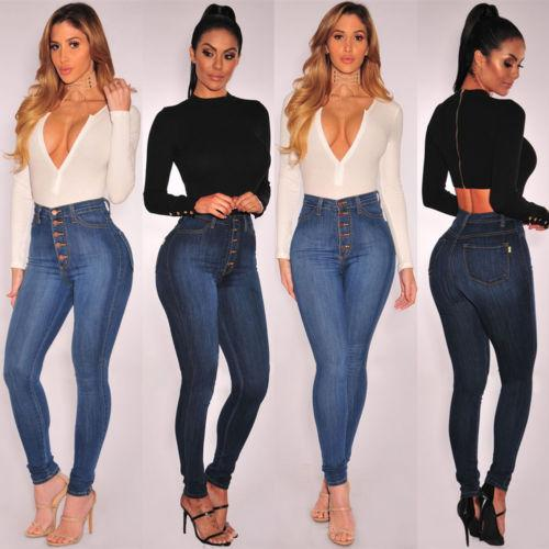 Pulsante donne Denim Button Up Skinny a vita alta casual Figura intera Jeans signore Slim Stretch