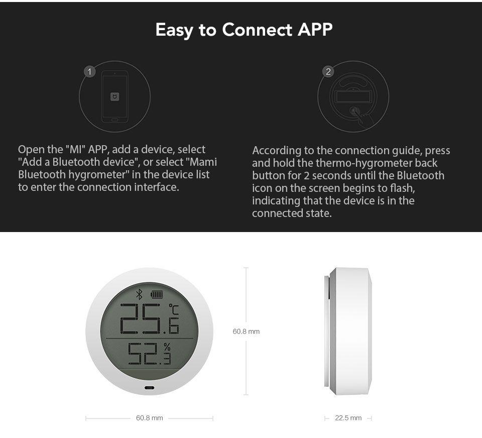 Xiaomi Mijia Bluetooth Temperature Humidity Monitor Sensor APP Control Built-in Sensor LCD Display Magnetic Stick Ultra-LowPower (9)