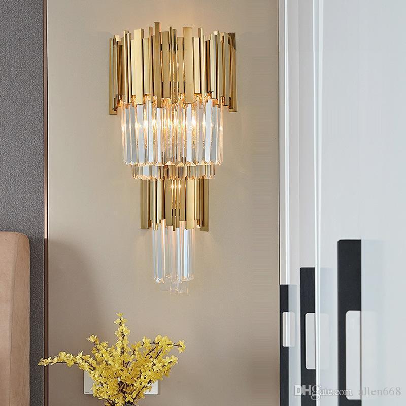 شنت كريستال الحديثة مصباح جدار غرفة النوم أدى الجدار الشمعدانات الإضاءة luminiare بريق wandlamp ضوء ضوء الحمام